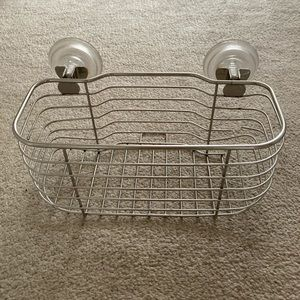 Shower caddy with suction cups.